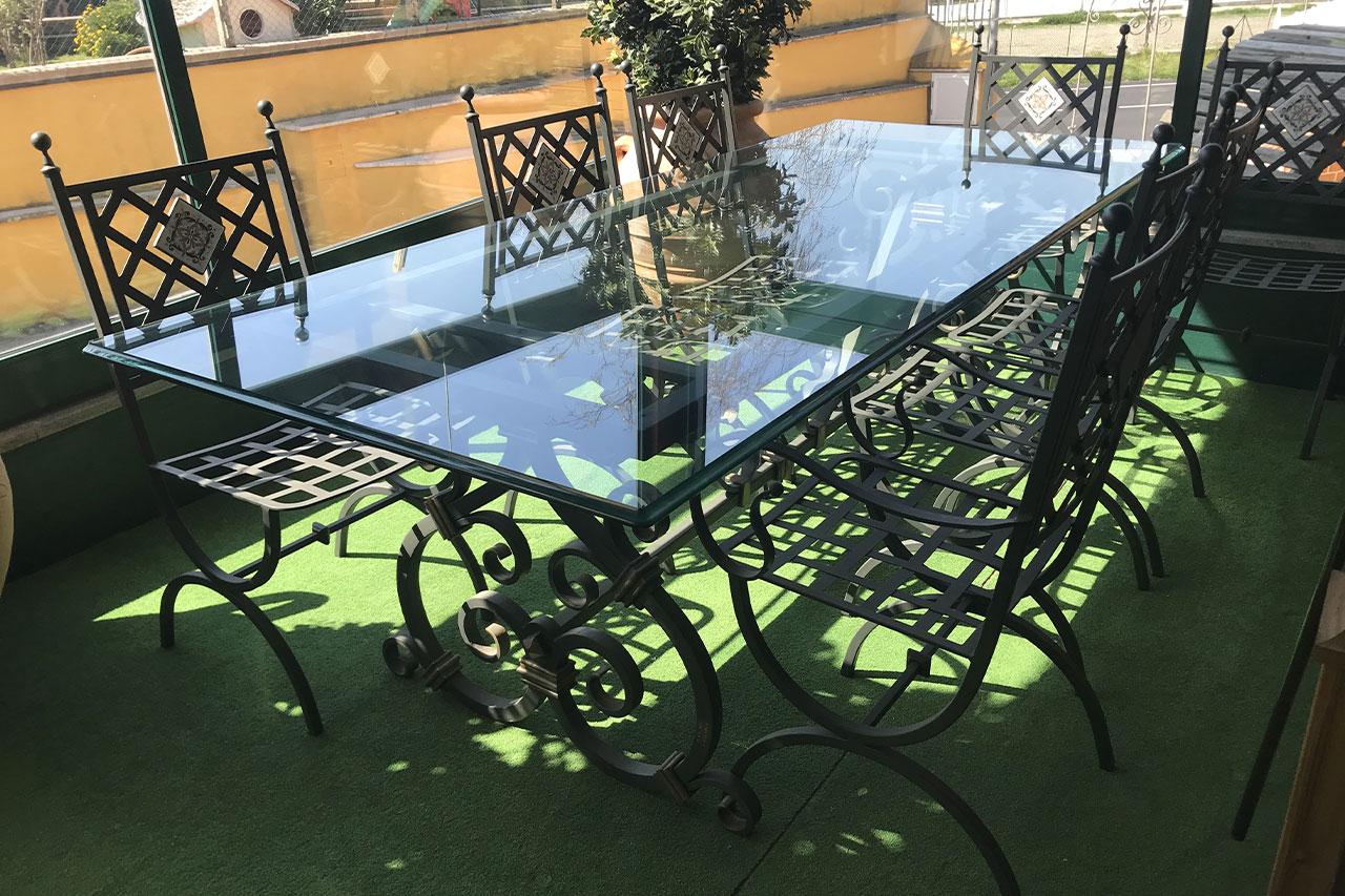 Set Tavolo in ferro battuto con vetro